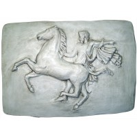 Placa romana hombre a caballo